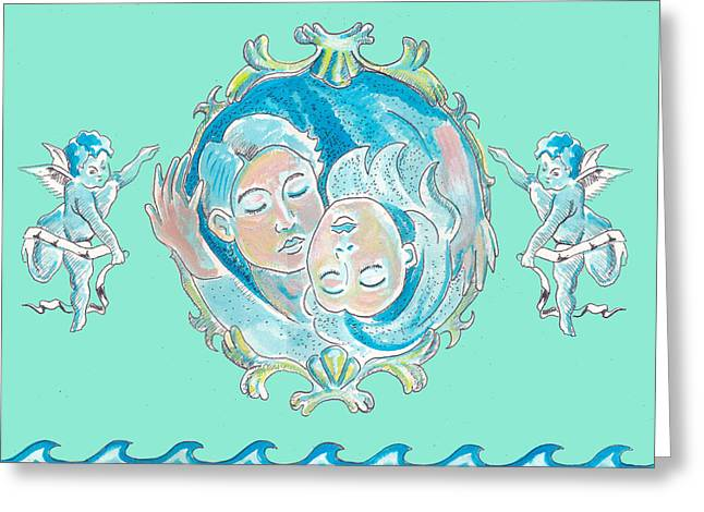 Greeting Card featuring the painting Amor In Aqua by John Keaton