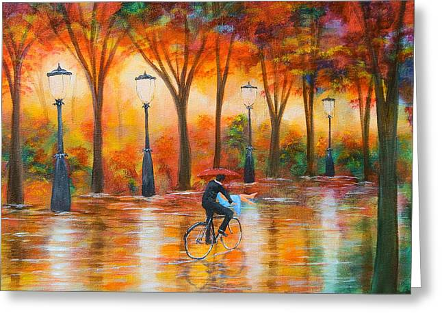 Greeting Card featuring the painting Amorous Rain by Chris Fraser