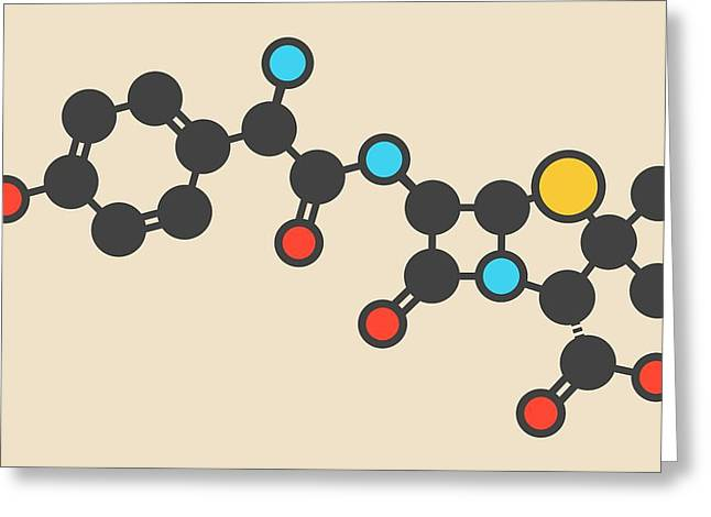Amoxicillin Antibiotic Drug Molecule Greeting Card