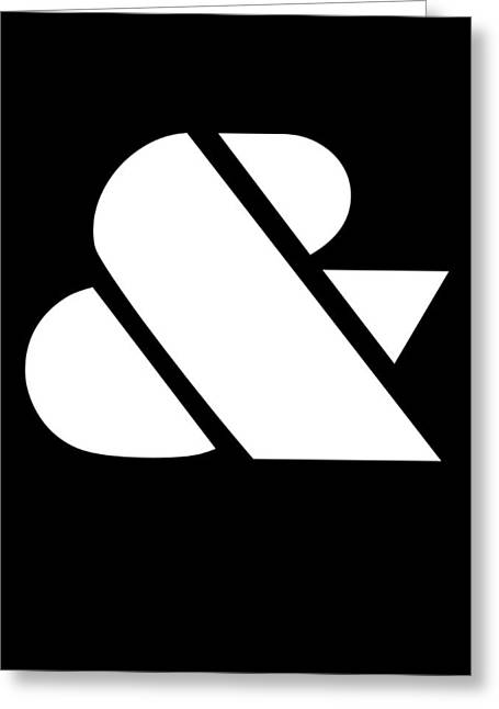 Ampersand Black And White Greeting Card by Naxart Studio