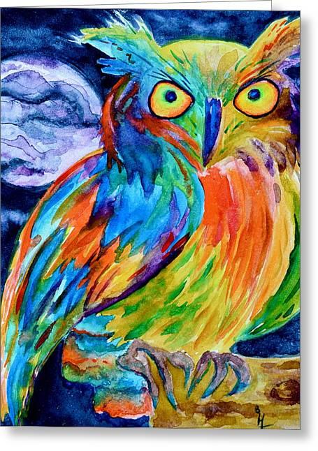 Ampersand Owl Greeting Card by Beverley Harper Tinsley