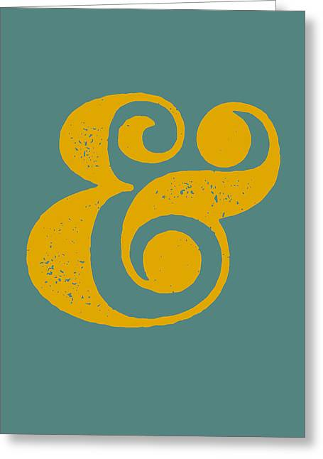 Ampersand Poster Blue And Yellow Greeting Card by Naxart Studio