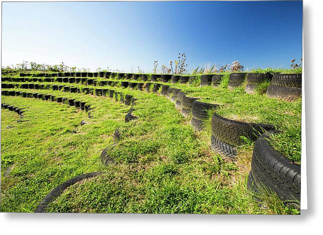 Amphitheatre Built With Used Tyres Greeting Card by Ashley Cooper