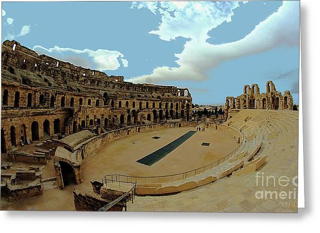 Amphitheatre Of El Jem Tunisia Greeting Card by Amalia Suruceanu