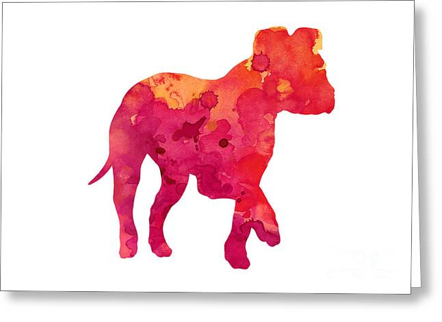 Amstaff Puppy Silhouette Large Poster Greeting Card by Joanna Szmerdt