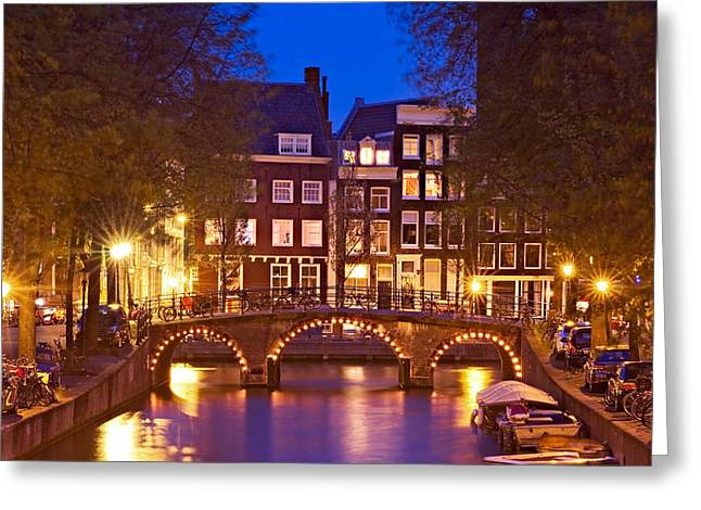 Amsterdam Bridge At Night Greeting Card