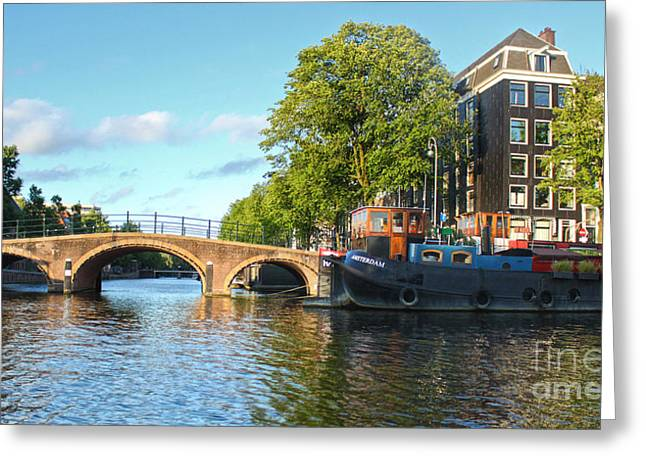Amsterdam Canal Bridge Greeting Card by Gregory Dyer