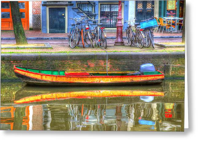 Amsterdam Canal Greeting Card by Sophie Vigneault