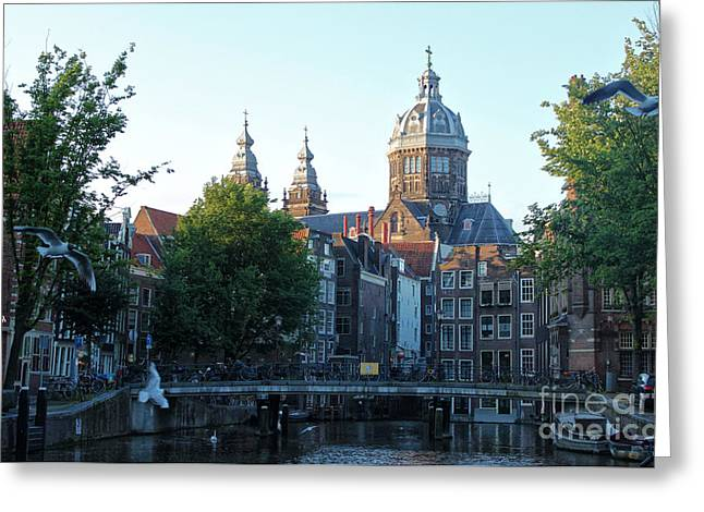 Amsterdam Canal View - 02 Greeting Card by Gregory Dyer