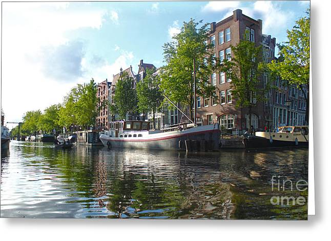 Amsterdam Canal View - 03 Greeting Card by Gregory Dyer