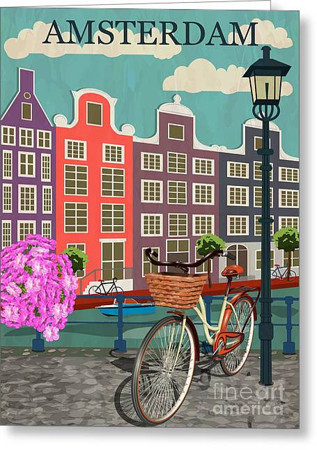 Amsterdam City Background Greeting Card