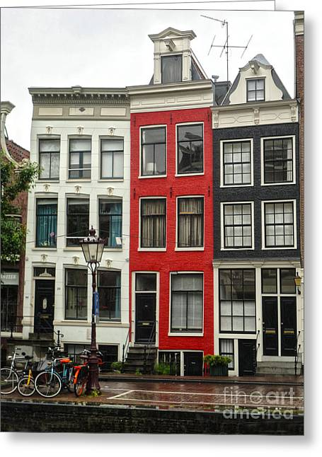 Amsterdam  Crooked Houses Greeting Card by Gregory Dyer