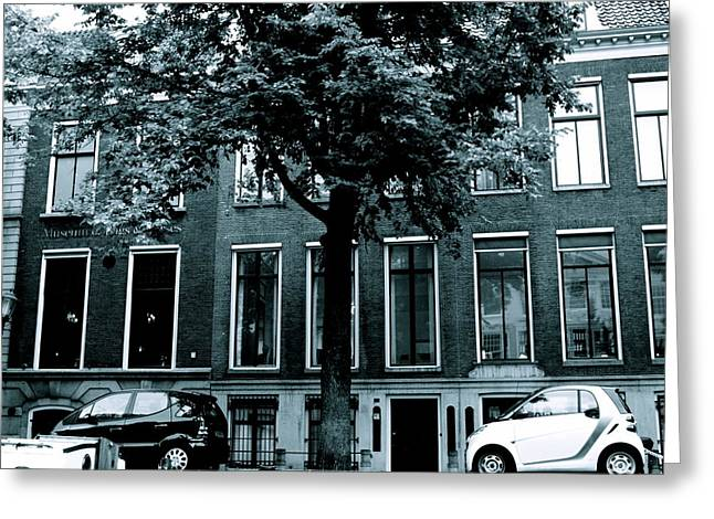 Amsterdam Electric Car Greeting Card by Cheryl Miller