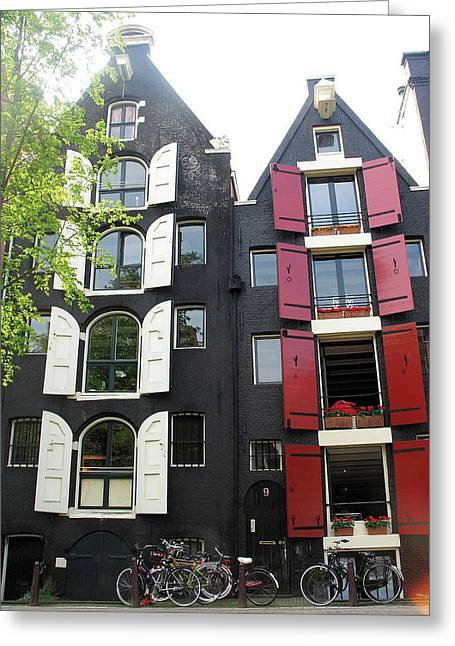 Amsterdam Homes Greeting Card by Gerry Bates