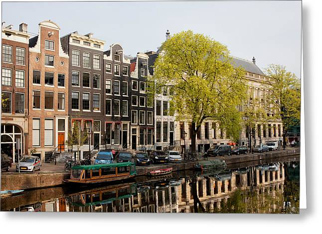 Amsterdam Houses Along The Singel Canal Greeting Card