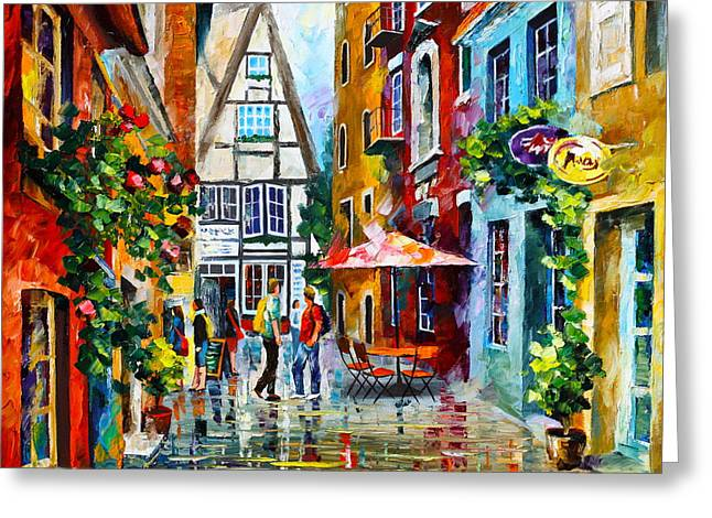 Amsterdam Street Greeting Card by Leonid Afremov