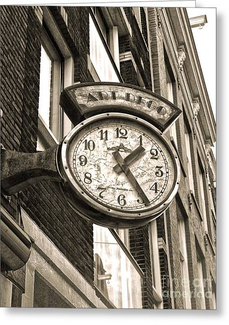 Amsterdam Vintage Deco Clock Sign In Sepia Greeting Card by Gregory Dyer