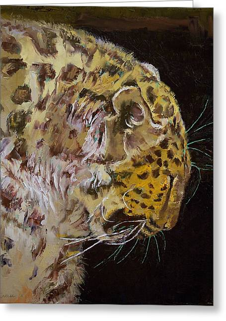 Amur Leopard Greeting Card by Michael Creese
