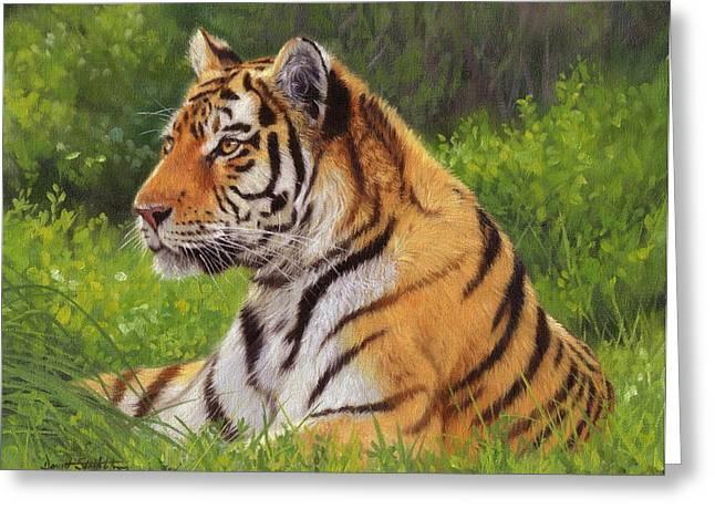 Amur Tiger Painting Greeting Card