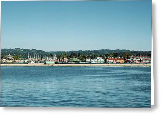 Amusement Park At The Waterfront, Santa Greeting Card by Panoramic Images