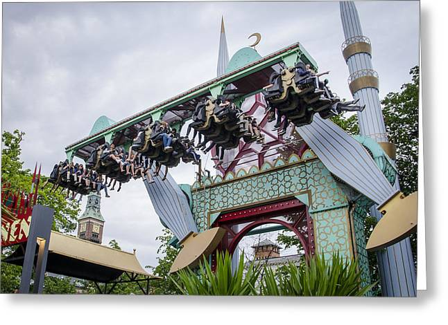 Amusement Ride - Tivoli Gardens - Copenhagen Denmark Greeting Card by Jon Berghoff