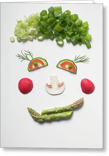 Amusing Face Made From Vegetables, Dill And Mushroom Greeting Card