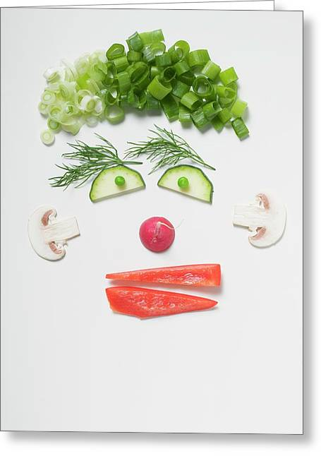 Amusing Face Made From Vegetables, Dill And Mushrooms Greeting Card