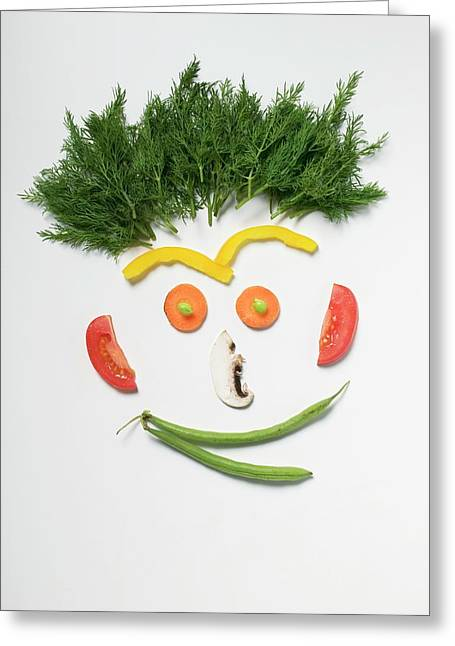 Amusing Face Made From Vegetables, Rosemary And Mushroom Greeting Card