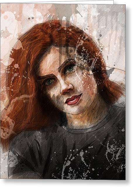 Amy Adams Greeting Card by Gary Bodnar