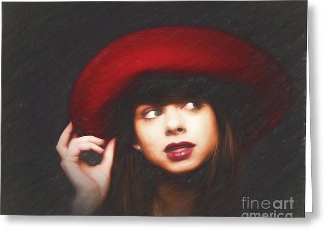 Amy And The Red Hat  ... Greeting Card