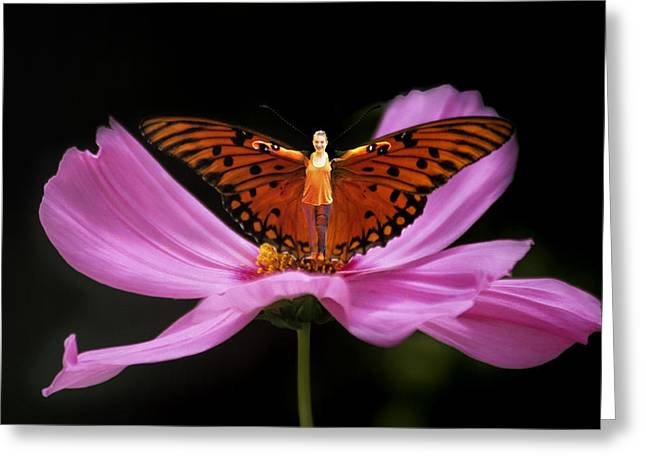 Greeting Card featuring the photograph Amy The Butterfly by Susan Rovira