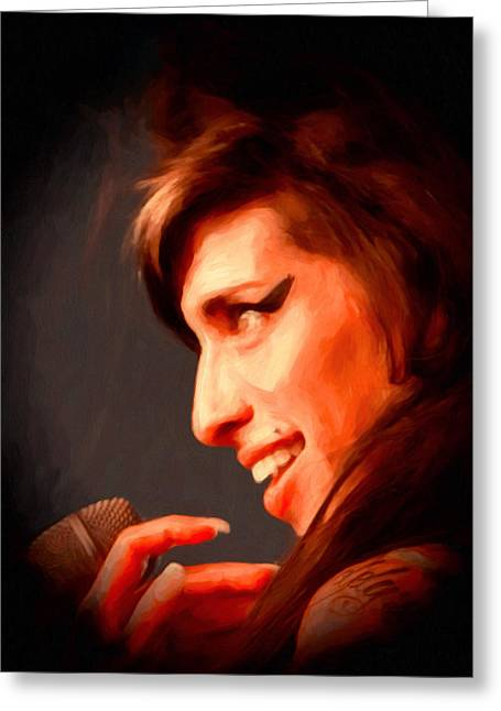 Amy Winehouse Greeting Card by Michael Pickett
