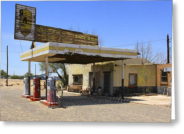 An Abandon Gas Station On Route 66 Greeting Card by Mike McGlothlen