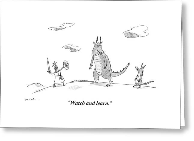An Adult Dragon Instructs His Child Dragon Greeting Card by Michael Maslin