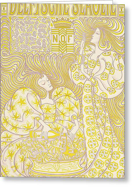 An Advertising Poster For Delft Salad Oil Greeting Card by Jan Theodore Toorop