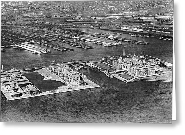 An Aerial View Of Ellis Island Greeting Card by Underwood Archives