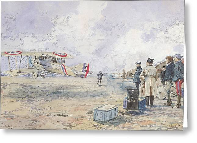 An Aeroplane Taking Off, 1913 Wc On Paper Greeting Card by Francois Flameng