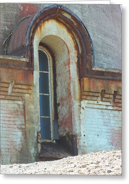An Aging Lighthouse Window Greeting Card