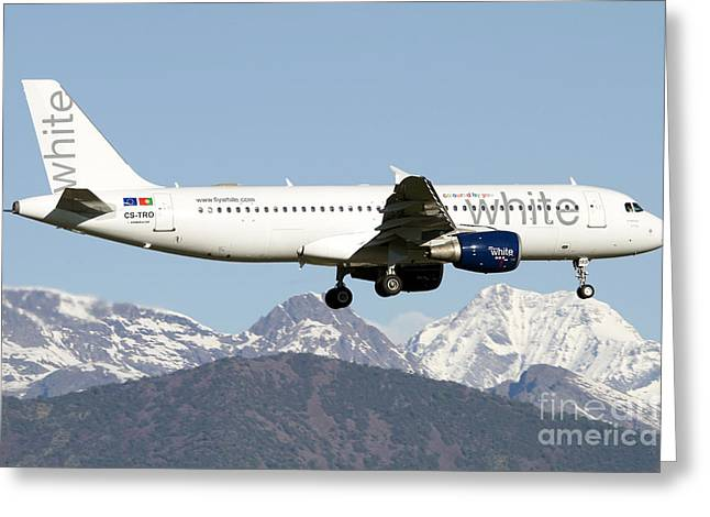 An Airbus A320 Of White Airways Flying Greeting Card