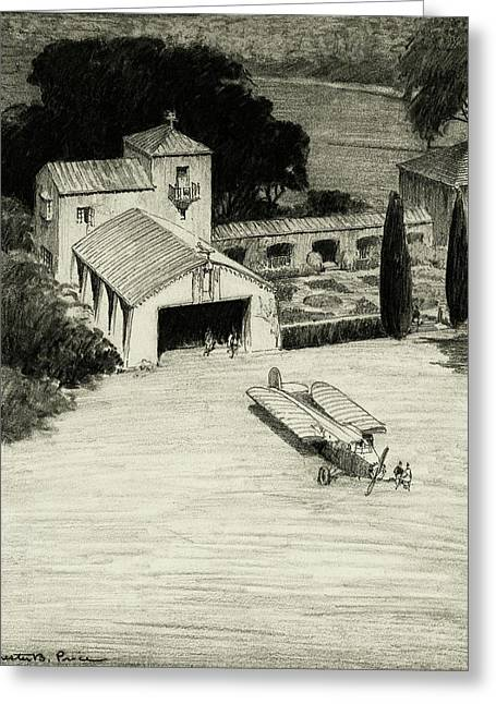 An Airplane Hangar Greeting Card by Chester B. Price