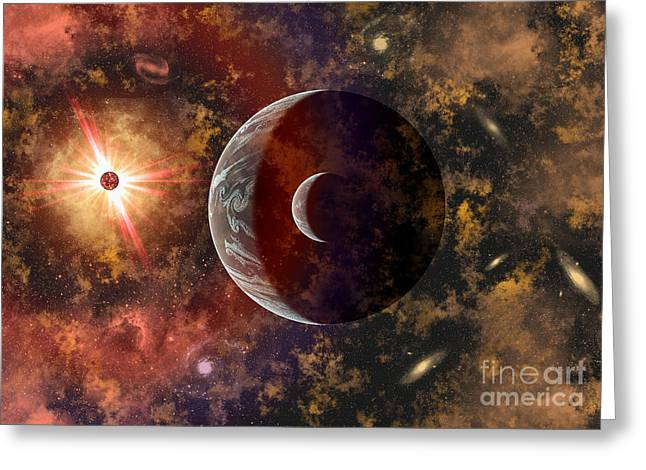An Alien Planet And Its Moon In Orbit Greeting Card by Mark Stevenson