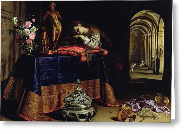 An Allegory Of Repentance Greeting Card by Antonio Pereda y Salgado