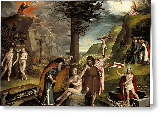 An Allegory Of The Old And New Testaments Greeting Card by Hans Holbein the Younger
