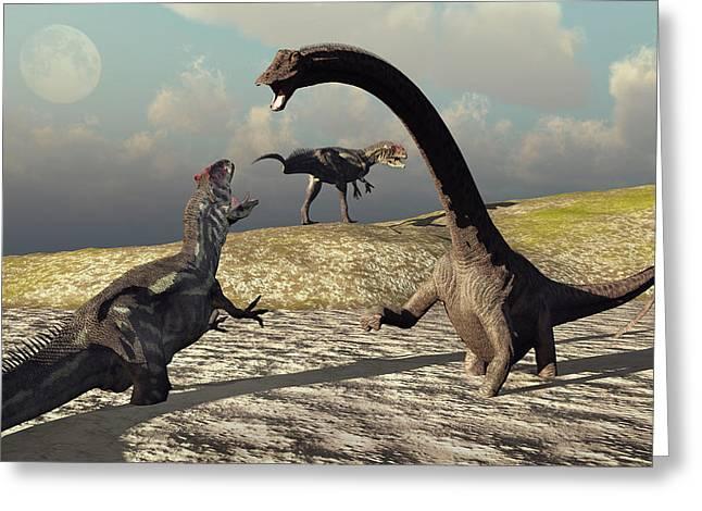 An Allosaurus And Diplodocus Dinosaur Greeting Card by Mark Stevenson