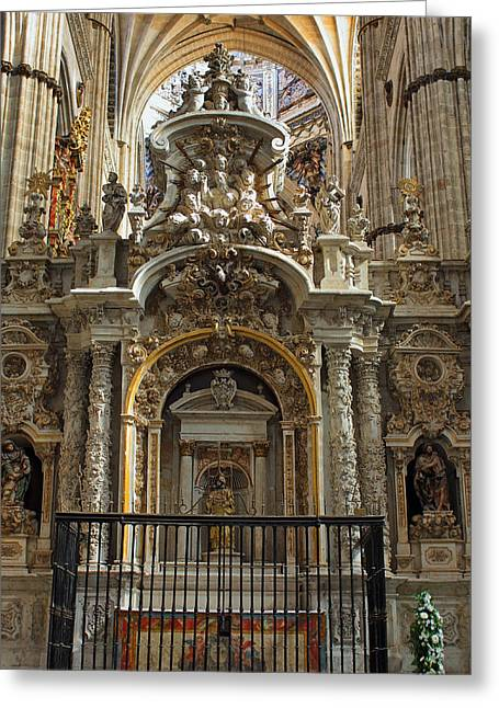 Greeting Card featuring the photograph An Alter In The Salamanca Cathedral by Farol Tomson