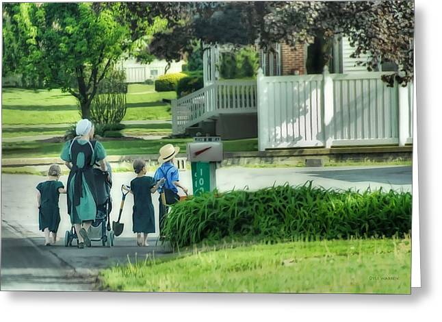 Little Amish Gardeners Greeting Card by Dyle   Warren