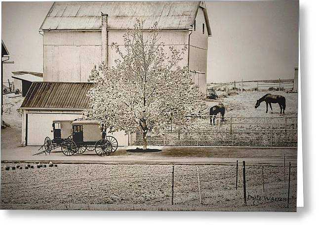 An Amish Farm In Sepia Greeting Card by Dyle   Warren