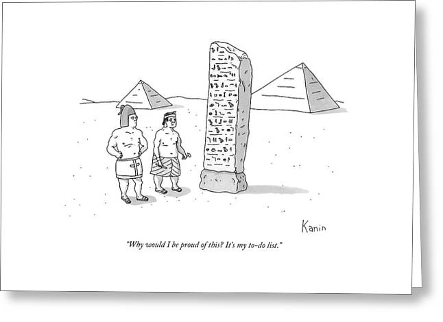 An Ancient Egyptian Mason Describes An Obelisk Greeting Card by Zachary Kanin