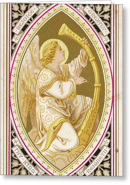 An Angel Plays A Harp          Date Greeting Card by Mary Evans Picture Library