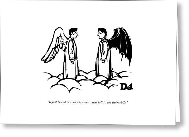 An Angel With Bat Wings Speaks To An Angel Greeting Card by Drew Dernavich